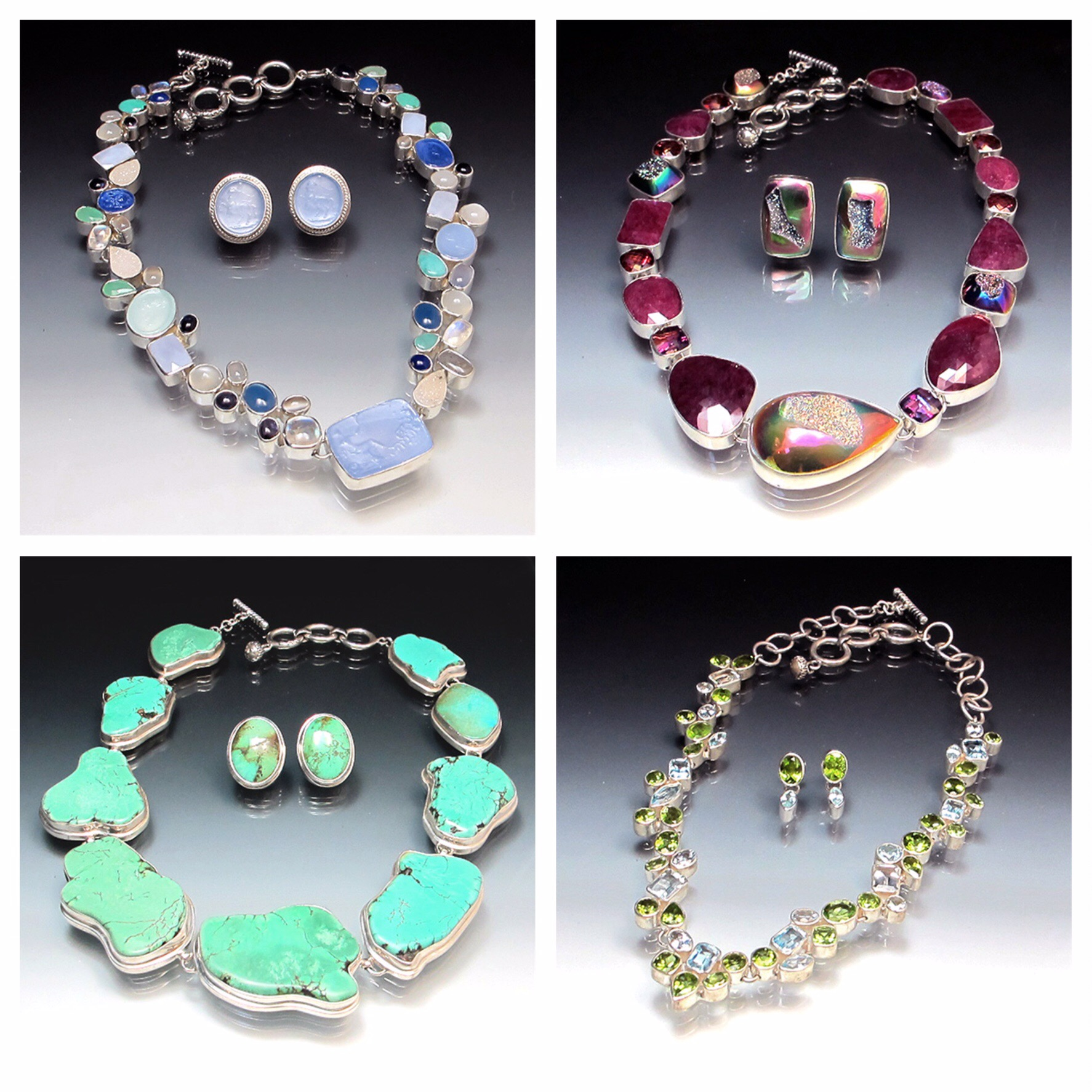 Beautiful handcrafted textured silver and 18K gold necklaces with gemstone accents from Deborah Armstrong & Company