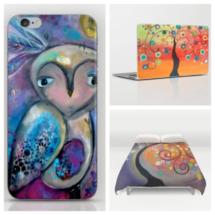 Just a few of Carla's Funky Art items available at Society 6!