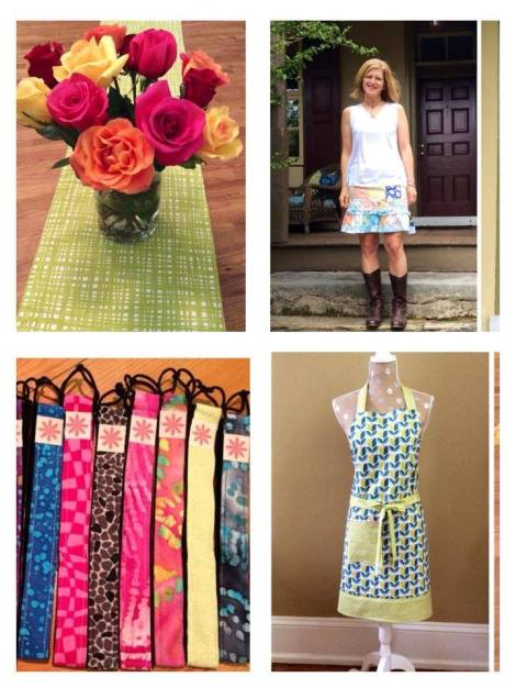 Table runners, head bands, aprons, and skirts are only a few of the beautiful items created by Side Stitch by Ginny.