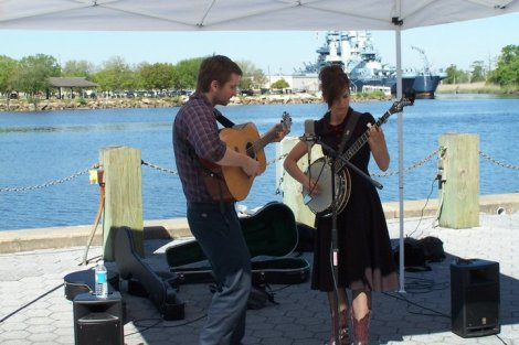 Live Music at the Market and our Battleship in the Background!